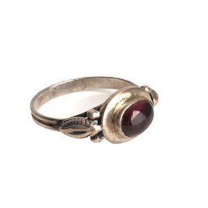 Vintage Garnet Sterling Silver Dainty Ring